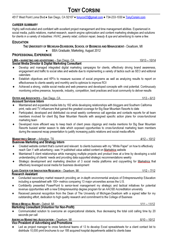 marketing resume example