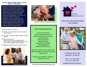 Brochure Example for Home Health Care Service
