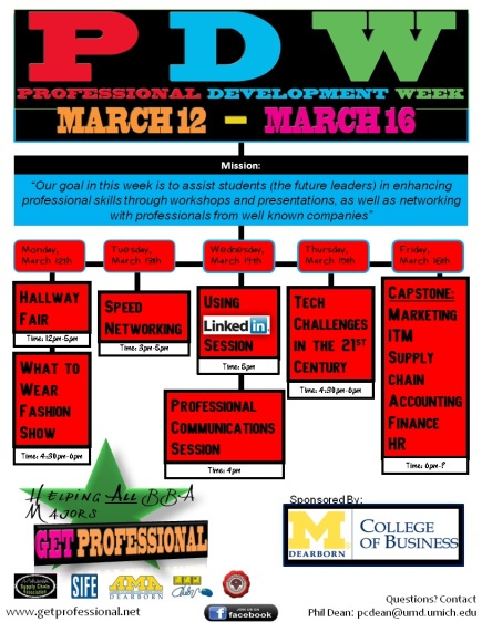 Event flyer example - professional development week at college of business