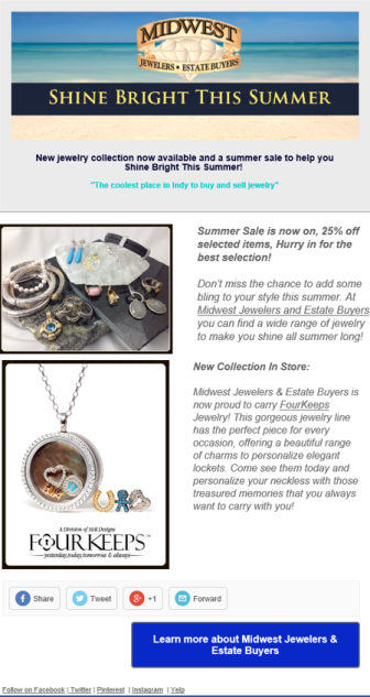 Email Newsletter Example for Midwest Jewelers and Estate Buyers - jewlelry store